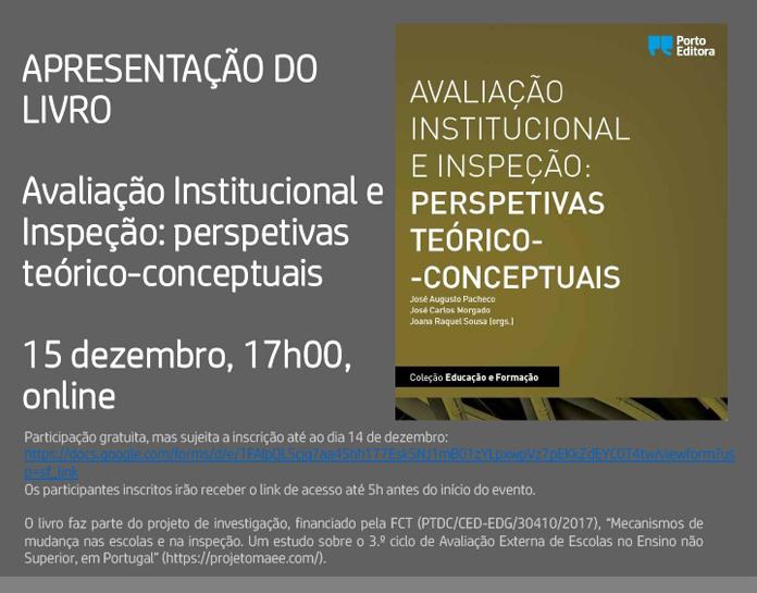 """Apresentação do livro """"Avaliação Institucional e Inspeção: Perspetivas teórico-conceptuais"""" (link para inscrição no desenvolvimento da notícia)."""