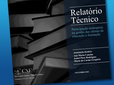 Relatório CNE: Participação autárquica na gestão das ofertas de educação e formação