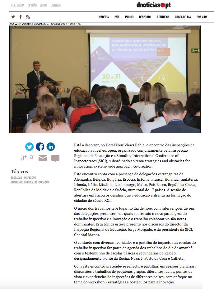 """O """"DN"""" divulga: Madeira recebe Encontro Europeu de Inspectores de Educação"""