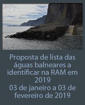 Consulta Pública: Proposta dos Municípios sobre as águas balneares a identificar na RAM em 2019