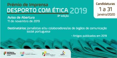 """Prémio de Imprensa """"Desporto com Ética/2019"""""""