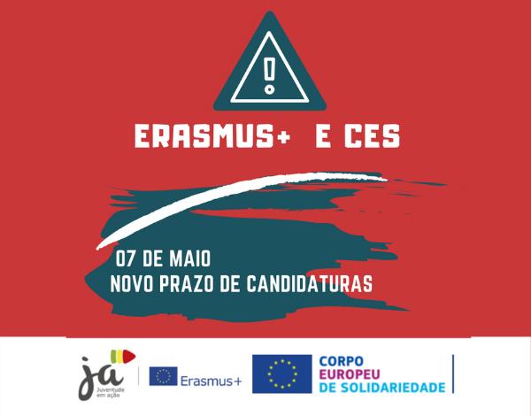 Erasmus + JA e Corpo Europeu de Solidariedade com novo prazo de candidaturas até 7 de maio