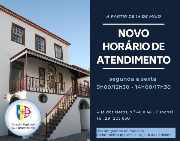 Direção Regional de Juventude reabre dia 14 de maio