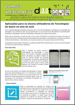 Aplicações para alunos utilizadores de Tecnologias de Apoio na sala de aula