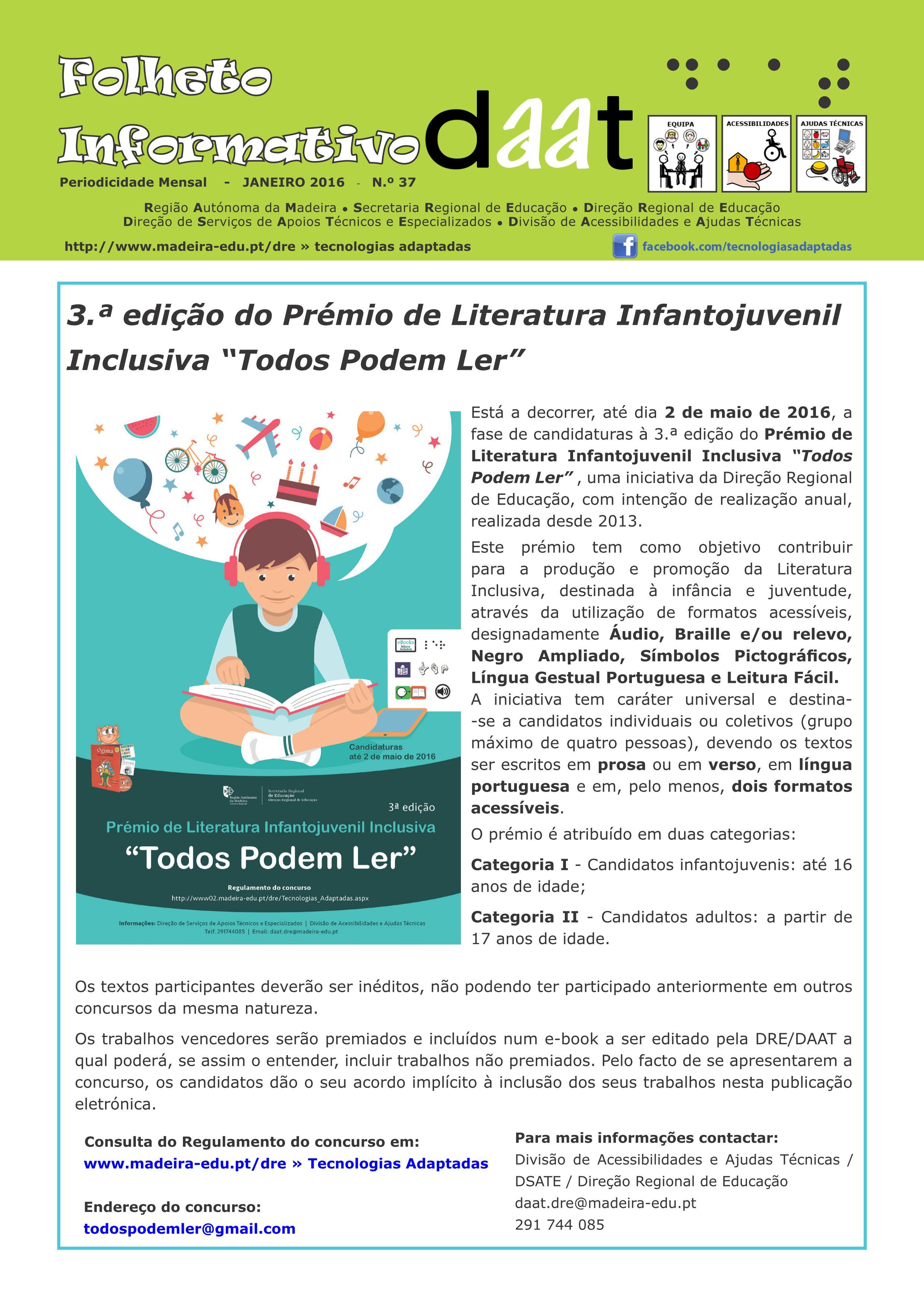 """3.ª edição do Prémio de Literatura Infantojuvenil Inclusiva """"Todos Podem Ler"""""""