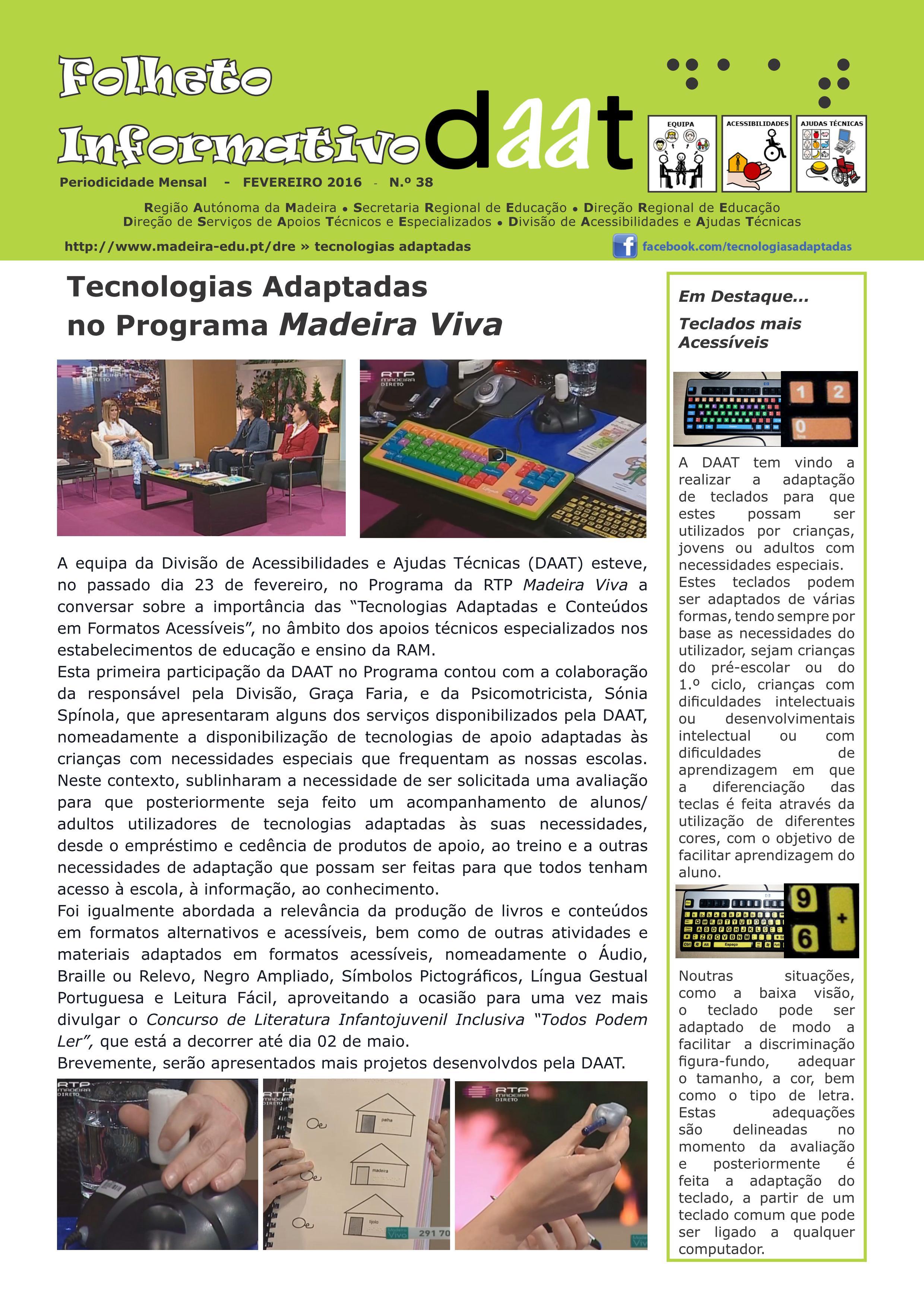 Tecnologias Adaptadas no Programa Madeira Viva