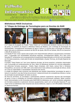 Bibliotecas MAIS Inclusivas - 2.ª Etapa de Entrega de Tecnologias para as Escolas da RAM