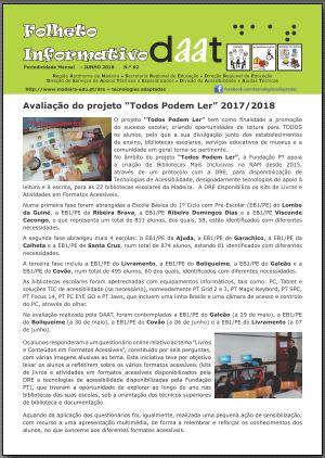 """Avaliação do projeto """"Todos Podem Ler"""" 2017/2018"""