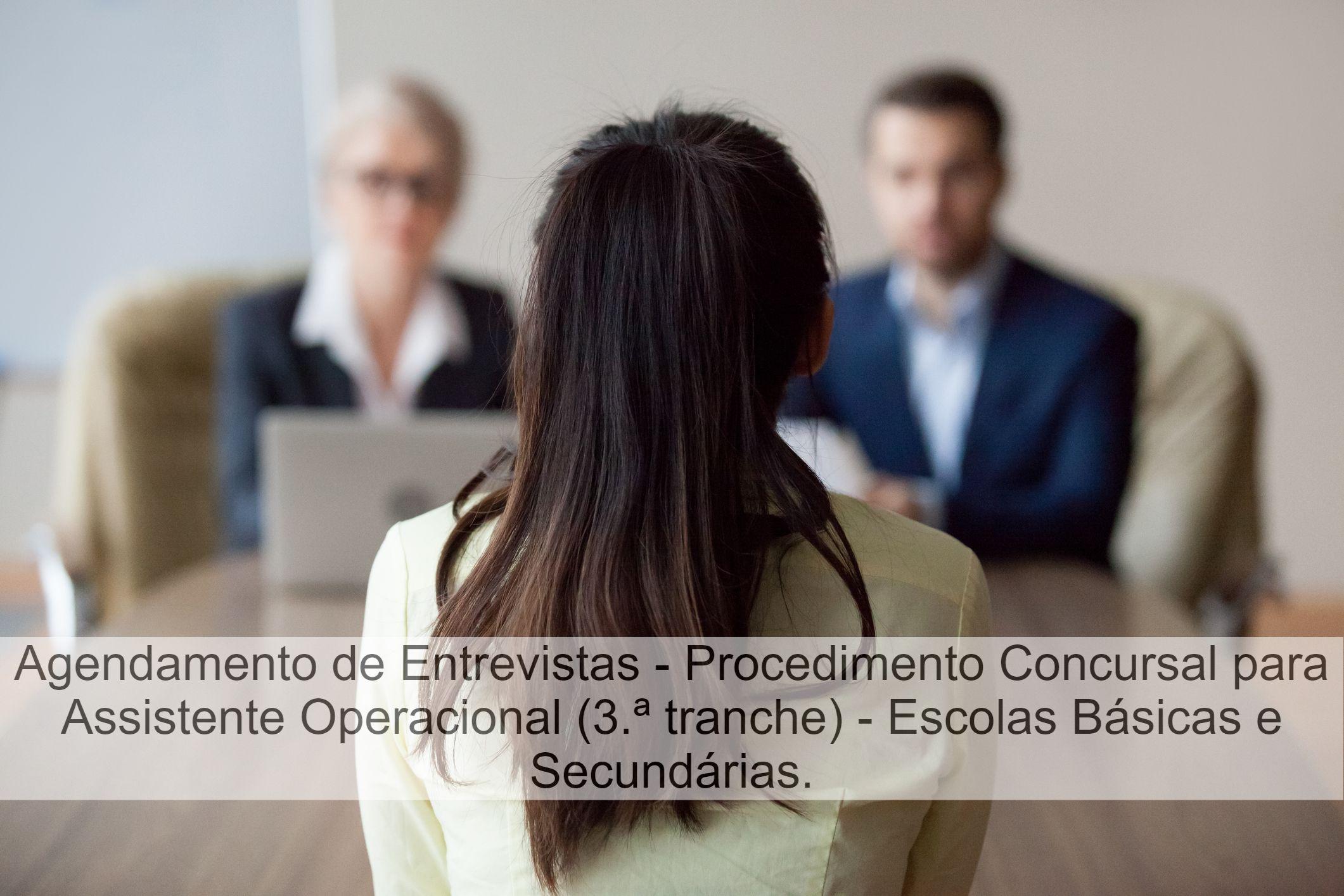 Agendamento de Entrevistas - Assistentes Operacionais - Escolas Básicas e Secundárias (3.ª tranche)