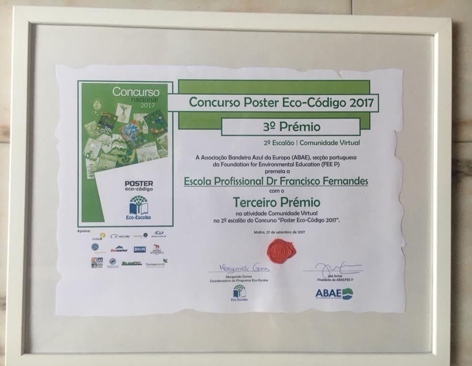 """Prémio atividade """"Comunidade virtual no 2.º escalão do concurso poster Eco-Código 2017"""""""