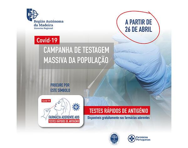Testes rápidos de antigénio disponíveis para a população nas farmácias