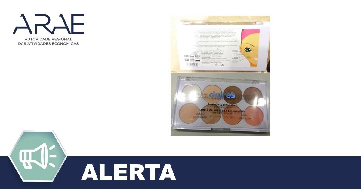 Alerta - Retirada do mercado - Kit de Maquilhagem Claire's