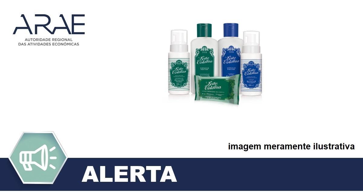 Alerta - Retirada do produto cosmético Loção tónica, da marca Leite de Colónia