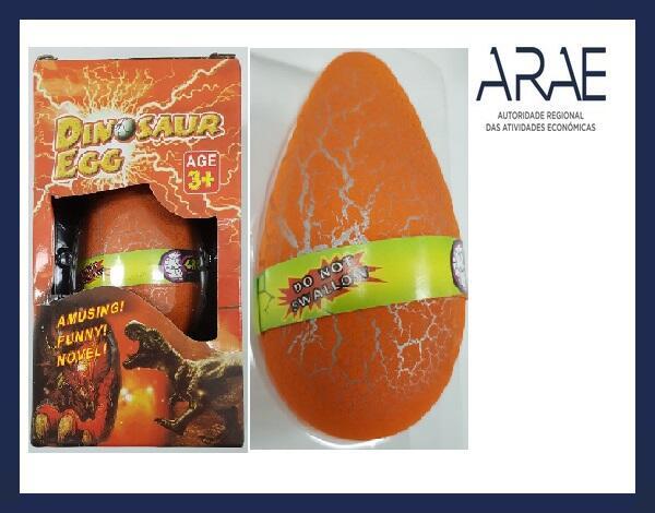 """Alerta ARAE – Brinquedo - """"Ovo contendo um dinossauro no seu interior"""""""