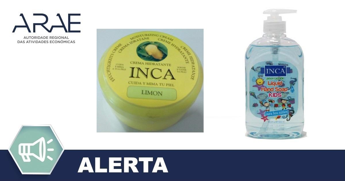 Alerta - Retirada do mercado de cosméticos da marca INCA