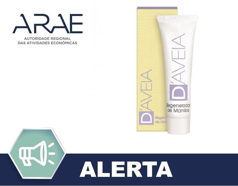 """Suspensão imediata da comercialização e Retirada do mercado do produto cosmético """"D' Aveia Regenerador de Mamilos"""""""