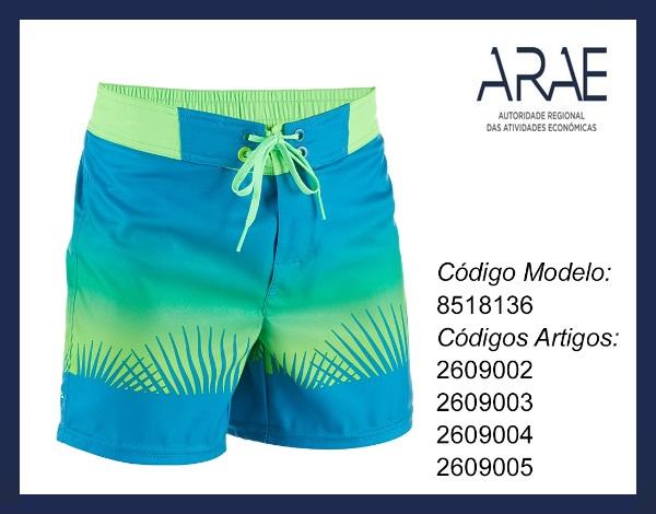 Alerta ARAE – Campanha de Recolha Produto - Calções de Praia BBS 500SE de criança