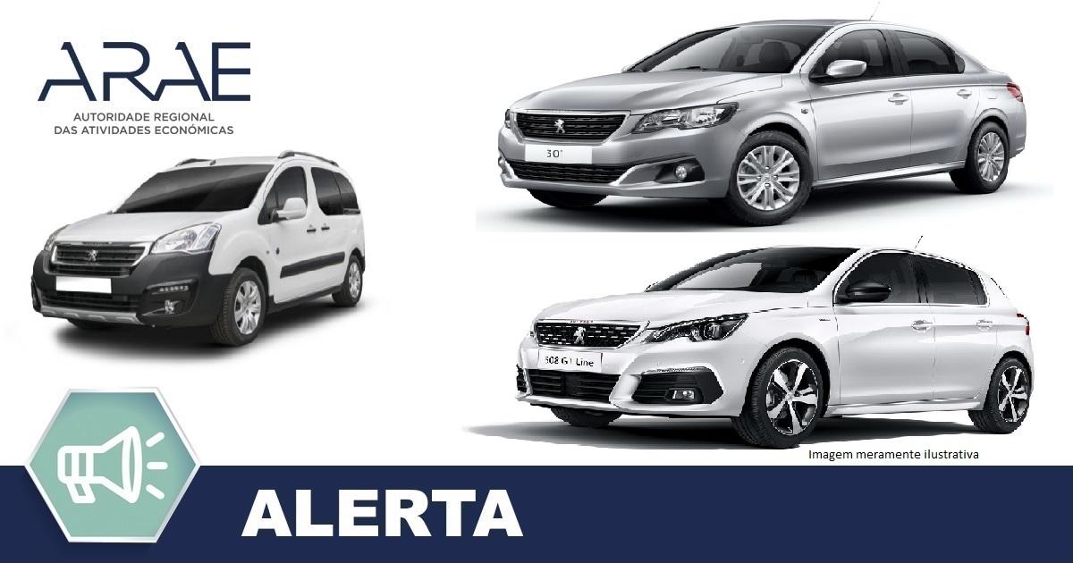 Alerta - Peugeot modelos: 301, 308 e Partner III