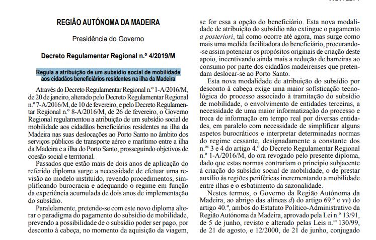 Decreto Regulamentar Regional n.º 4/2019/M, de 2 de abril