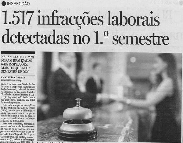 1.517 infrações laborais detetadas no 1º semestre