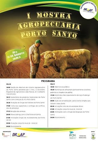 Cartaz com Programa da 1ª Mostra Agropecuária de Porto Santo 30 e 31 de Agosto
