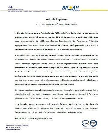 NOTA DE IMPRENSA - I Mostra Agropecuária do Porto Santo