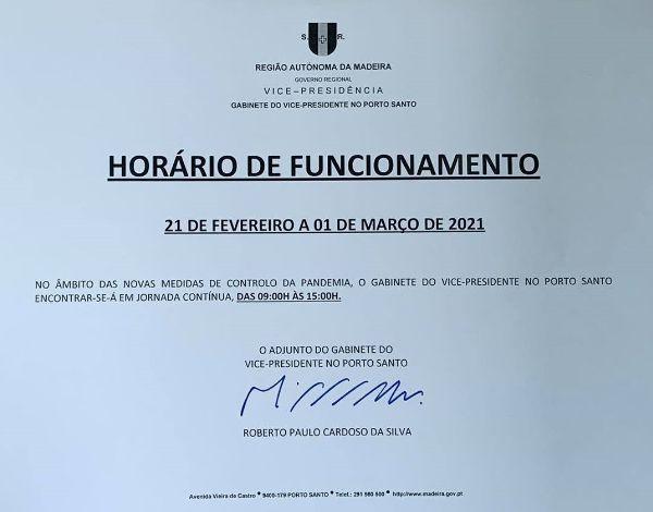 Horário de Funcionamento do Gabinete do Vice-Presidente no Porto Santo