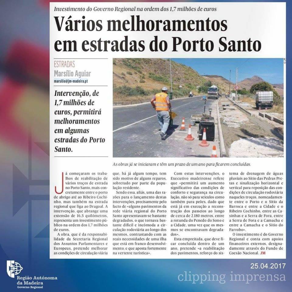Vários melhoramentos em estradas do Porto Santo