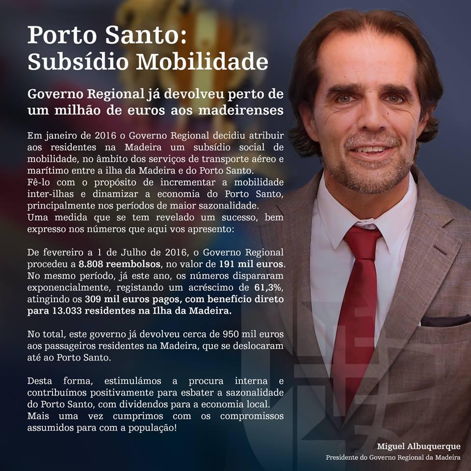Porto Santo: Subsídio Mobilidade