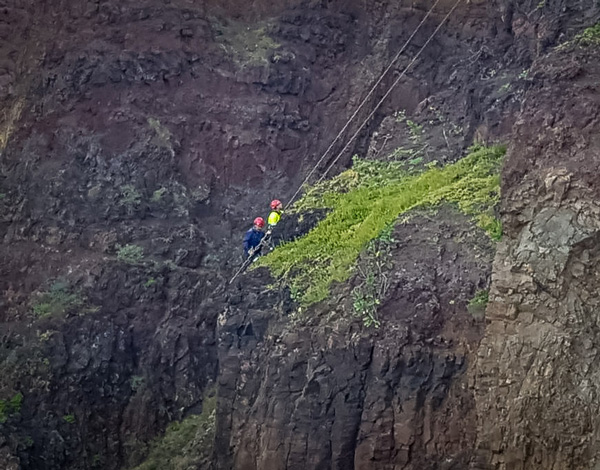 Rocheiros da DRE intervêm em escarpas do Porto Santo para reforçar segurança