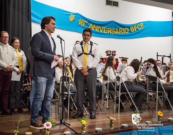 Secretário enaltece papel formativo das bandas no 16º aniversário da Banda Filarmónica do Caniço e Eiras