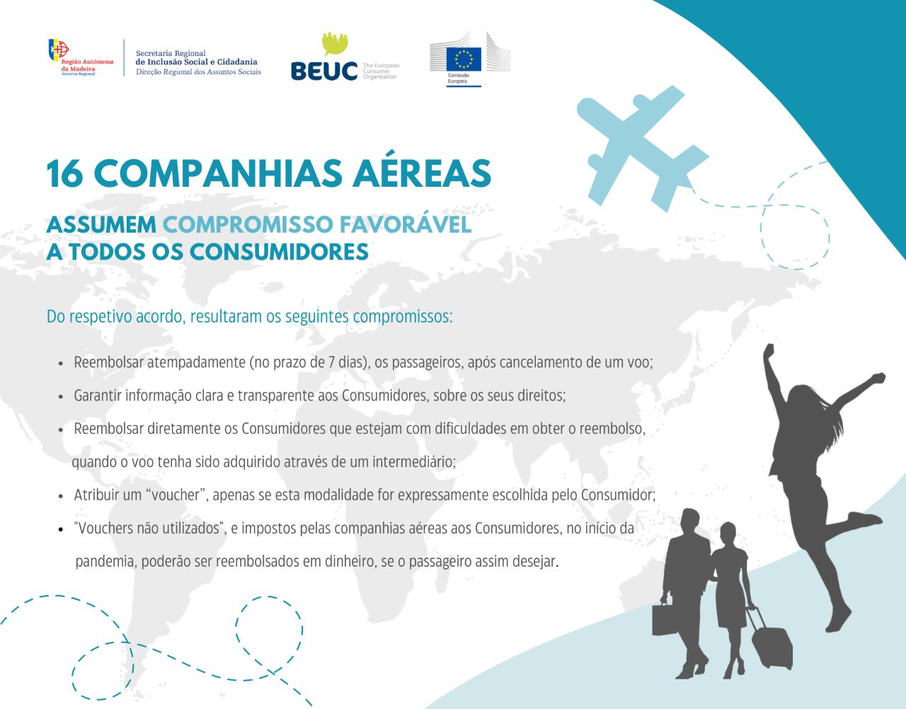 16 Companhias Aéreas - Compromisso Favorável a Todos os Consumidores