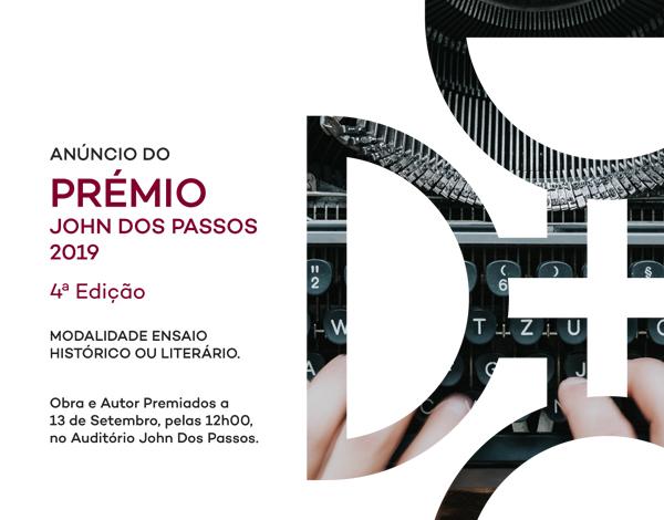 Obra e Autor Premiados - Prémio John Dos Passos 2019.