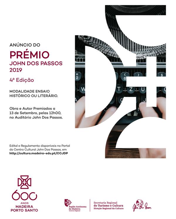 Cartaz do Anúncio da Obra e do Autor premiados - Prémio John Dos Passos 2019.