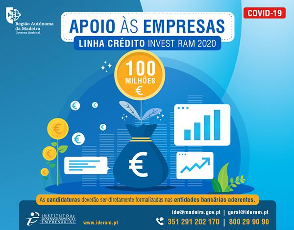 Candidaturas à Linha de Apoio às Empresas INVEST RAM COVID-19 encontram-se abertas