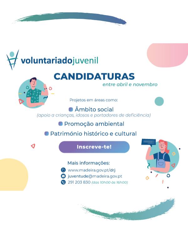 PROGRAMA VOLUNTARIADO JUVENIL com candidaturas abertas