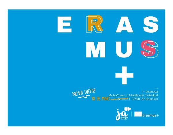 ERASMUS + Juventude em Ação | Prazo de candidatura à primeira chamada adiado para 18 de maio