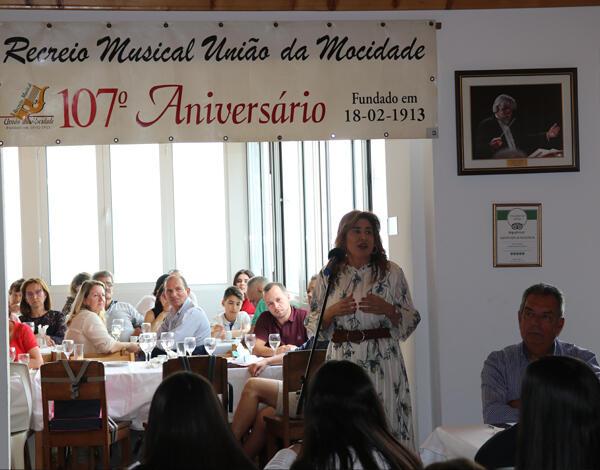 Augusta Aguiar elogia Associação Recreio Musical União da Mocidade nas comemorações do 107.° aniversário