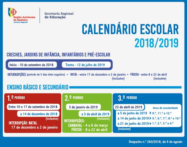 Calendário Escolar - Ano letivo 2018/2019