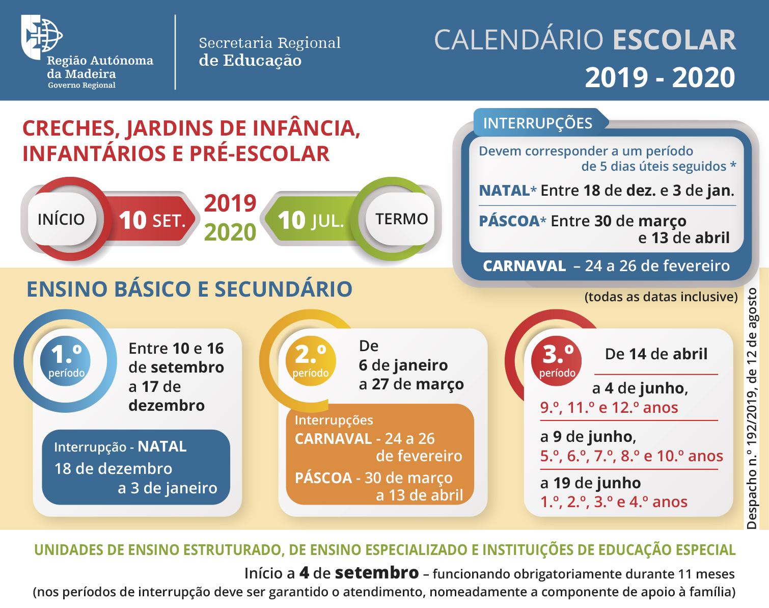Calendário Escolar - Ano letivo 2019/2020
