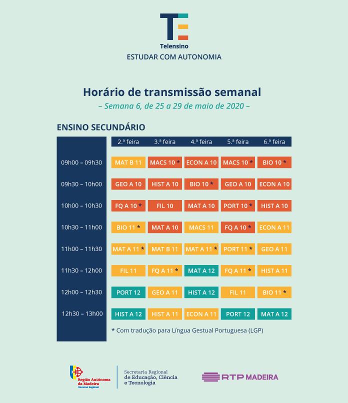 horário de transmissão do ensino secundário